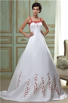 Aライン 刺繍飾り 細いストラップ 大きいサイズ ウェディングドレス