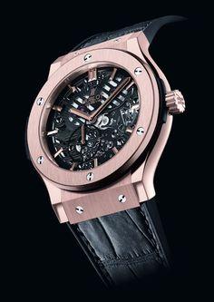 Hublot thin skeleton rose gold watch