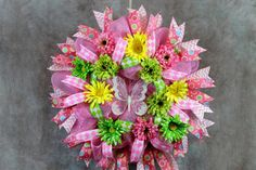 Check out Deco Mesh Wreath, Wreath in Pink, Green, Yellow, Home Decor, Wreath, Door Wreath,Summer Wreath, Floral Wreath, Pastels on southerncharmflorals