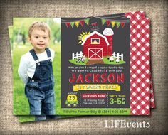 Farm Invitations Old McDonald Invitations Farm Birthday Invitation Country Birthday Party Chalkboard Digital File by LIFEvents on Etsy, $12.00