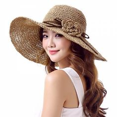 Crochet flower wide brim sun hat for summer UV ladies straw hats package design
