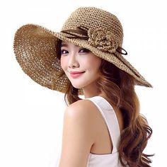 Crochet flower wide brim sun hat for summer UV ladies straw hats package design