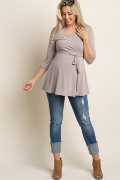 Taupe Solid Wrap 3/4 Sleeve Maternity Blouse