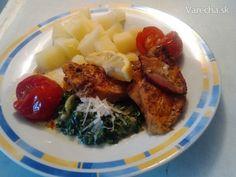 Kuracie prsia s cherry rajčinami a smotanovým špenátom (fotorecept) - Recept Grains, Pork, Rice, Chicken, Meat, Kale Stir Fry, Pigs, Seeds, Korn