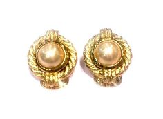 Textured gold tone and faux pearl Christian Dior  earrings from Hardware Vintage Jewellery