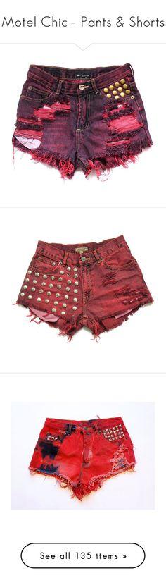 """Motel Chic - Pants & Shorts"" by metalheavy ❤ liked on Polyvore featuring shorts, bottoms, pants, short, high rise shorts, highwaist shorts, zipper shorts, zipper pocket shorts, short shorts and red high waisted shorts"