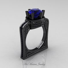 Buckingham 14K Black Gold 3.0 Ct Blue Sapphire Black Diamond Crown Solitaire…