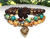 Boho Bracelet, Bohemian Bracelet, Hippie Bracelet, Gypsy Bracelet, Wood Bracelet, Boho Jewelry