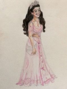 "Courtney Reed as Jasmine, ""Opening Night,"" colored pencil, artist Natalie Shreck"