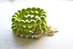Lime Green Wood Beaded Stack Bracelets on Etsy, 79.11 ₪