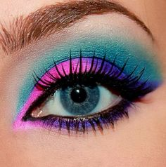 Make a statement with neon eye makeup..     Love bright colors on all eye colors. #neon eye colors