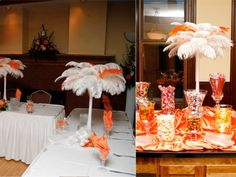 Add a few colored feathers to your white ostrich feather centerpieces to help accent the other colors in your reception.