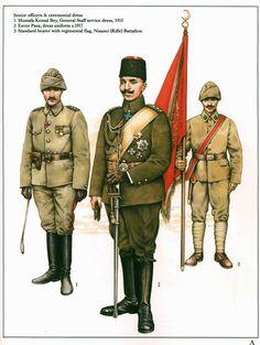 The Ottoman Army 1914-18:  1: Mustafa Kemal bey, General Staff service dress, 1915;  2: Enver Paşa, dress uniform c.1917;  3: Standard bearer with regimental flag, Nişancı (Rifle) Battalion