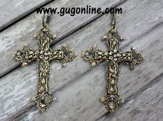 Get 10% off by using the discount code GUGREPKCAR at www.gugonline.com! AB Crystals on Gold Cross Earrings