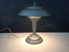 Industrial Mushroom Table Lamp Vintage - Retro - Art Deco - Mid Century - Space Age - Flying Saucer - Sci Fi - Mushroom Lamp $65