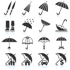 Rain Umbrella Protection and insurance royalty free vector icon set vector art illustration