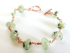 Prehnite Gemstone Copper Bracelet Metaphysical by MoonMajickStudio