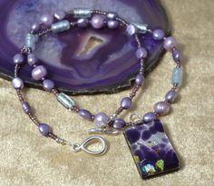 Pearl  Purple Murano Glass Necklace £51.80