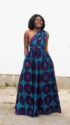 Maxi INFINITY dress in purple record by ofuure on Etsy. African print infinity dress.   Can be worn more than 6 different ways.  2 side pockets.       Made with 100% cotton high quality African print wax fabric (affiliate)