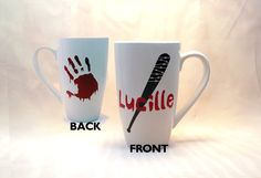 Lucille Coffee Cup -The Walking Dead Coffee Mug -  Zombie Coffee Cup - The Walking Dead Gift - Lucille Mug - Lucille Fan - Walking Dead Fan by BlueKitty2000 on Etsy