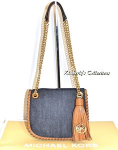 548d116c7de141 MICHAEL KORS Whipped Chelsea Messenger Leather Denim Shoulder Bag Purse NWT  #MichaelKors #Satcheltotebagshoulderbag Michael