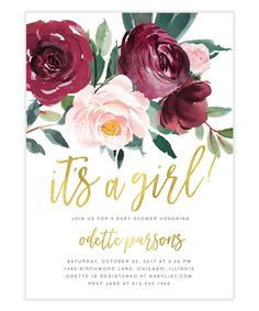 The Odette It's a Girl Baby Shower invitation features gorgeous fall florals with a burgundy and blush pink rose and greenery arrangement and gold brush calligraphy lettering. Baby Girl Shower Themes, Baby Shower Decorations For Boys, Baby Shower Invites For Girl, Baby Shower Parties, Baby Shower For Girls, Baby Shower Fall, Fall Baby, Floral Baby Shower, Baby Shower Roses