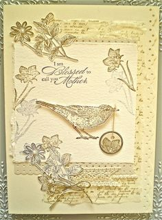 Mothers day card monochromatic ivory  I really like the look of this card and it looks like the feel is also nice texture.