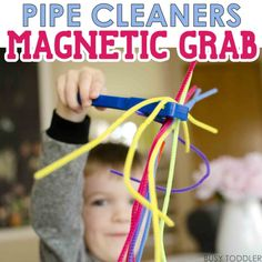PIPE CLEANERS MAGNETIC GRAB: You've got to try this simple activity using magnets and pipe cleaners. An easy indoor activity for toddlers and preschoolers. It's perfect for a quick idea on a rainy day! Science Activities For Toddlers, Activities For 1 Year Olds, Fun Indoor Activities, Sensory Activities, Infant Activities, Sensory Play, Pipe Cleaner Crafts, Pipe Cleaners, Classroom Crafts