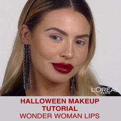 Wonder Woman Lips Halloween Makeup Tutorial using Infallible Pro Matte Liquid Lipstick and Colour Riche Matte Lip Liner