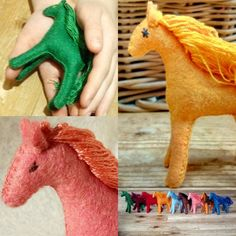 Photo by Felt Horses on March can find Felt animals and more on our website.Photo by Felt Horses on March Horse Toys For Girls, Natural Toys, Waldorf Toys, Felt Patterns, Soft Dolls, Felt Toys, Beautiful Gifts, Felt Animals, Wool Felt