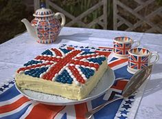 what fun to have this for a party. Jelly Belly Jubilee Union Jack cake recipe by Helen Best-Shaw. Tea Pot Set, Pot Sets, Union Jack Cake, British Party, London Party, Afternoon Delight, Jelly Belly, London Calling, Party Time