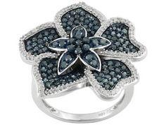 Blue Velvet Diamond (Tm) And White Diamond 1.70ctw Round 10k White Gold Ring Eav $1,400.00