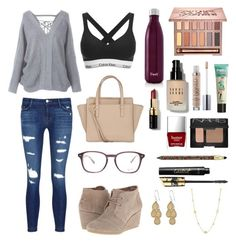 """""""Fall"""" by sophia-pollard on Polyvore featuring J Brand, Calvin Klein, TOMS, Salvatore Ferragamo, S'well, Ray-Ban, Urban Decay, Bobbi Brown Cosmetics, Benefit and NARS Cosmetics"""
