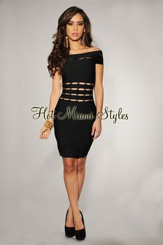 Black Cut-Out Off-The-Shoulder Bandage Elastic Dress - Worn by Britney Spears
