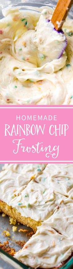How to make sweet and creamy homemade rainbow chip frosting! Tastes even better than the real stuff. Recipe on sallysbakingaddiction.com
