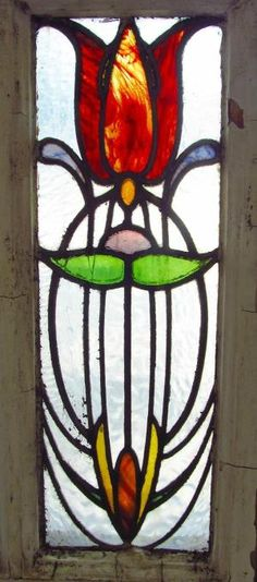 Antique Stained Glass Window Stunning Eight Color Art Nouveau Tulip by zelma