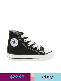 079b15381e1341 Converse Chuck Taylor All Star Hi Black Wht Infant Toddler Boy Girl Size 2-  10