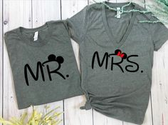 Excited to share this item from my #etsy shop: mr and mrs disney, disney couples shirts, disney shirts, disney marriage shirts, disney wedding, wedding shirts, mr and mrs, hubby wifey