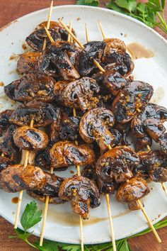 Balsamic Garlic Grilled Mushroom Skewers - The Best Video Recipes for All Skewer Recipes, Vegetable Recipes, Vegetarian Recipes, Healthy Recipes, Vegetarian Grilling, Healthy Grilling, Veggie Food, Balsamic Mushrooms, Marinated Mushrooms