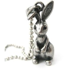 Bunny Rabbit 3D Animal Pendant Necklace in Silver DOTOLY ($4.99) ❤ liked on Polyvore featuring jewelry and necklaces