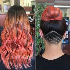 Long Hair, Pink Ombré, Topknot, Undercut, Hair Tattoo