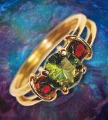 14karat Gold Ring~ Moldavite Facet with Garnet in Designer Gold Jewelry, Handmade