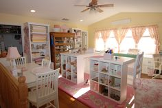 ~ Bunny Hill Studio ~ Love the pink & yellow and two islands!