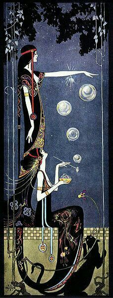 Art Nouveau, Art Deco Panther, illustration by Frederick Little Packer, blowing bubbles Art And Illustration, Inspiration Art, Art Inspo, Art Vintage, Vintage Posters, Art Amour, Jugendstil Design, Ouvrages D'art, Bubble Art
