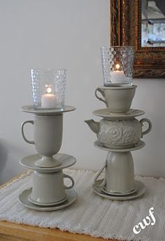 Great tutorial for creating these little tea cups and tea pot candle holder!