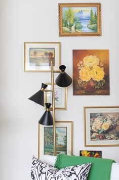 Living Room Gallery Wall - hanging art collected over time Dining Room Walls, Living Room Sofa, Living Room Furniture, Living Room Decor, Yellow Sofa, Green Sofa, Yellow Hallway, Charcoal Sofa, Neutral Sofa