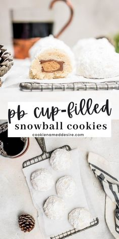 Nothing says the holidays like these snowball cookies with a hidden peanut butter cup inside! Perfect for those Christmas cookie platters. Thumbprint Cookies Recipe, Cupcake Cookies, Cupcakes, Decadent Chocolate Cake, Double Chocolate Cookies, Easy Baking Recipes, Cookie Recipes, Dessert Recipes, Peanut Butter Cups