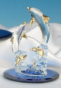 Decorative Double Dolphins On Blue Mirror Figurine