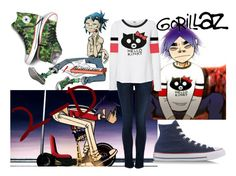 """""""Gorillaz 2-D Outfit"""" by apple-not-sauce ❤ liked on Polyvore featuring Converse, Koral, Vero Moda, gorillaz and 2d"""