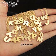 DIANSHANGKAITUOZHE Stainless Steel Chain A B C D E F G H I J K L M N O P Q R S T U V W X Y Z Statement Necklace Women Choker BFF #Affiliate